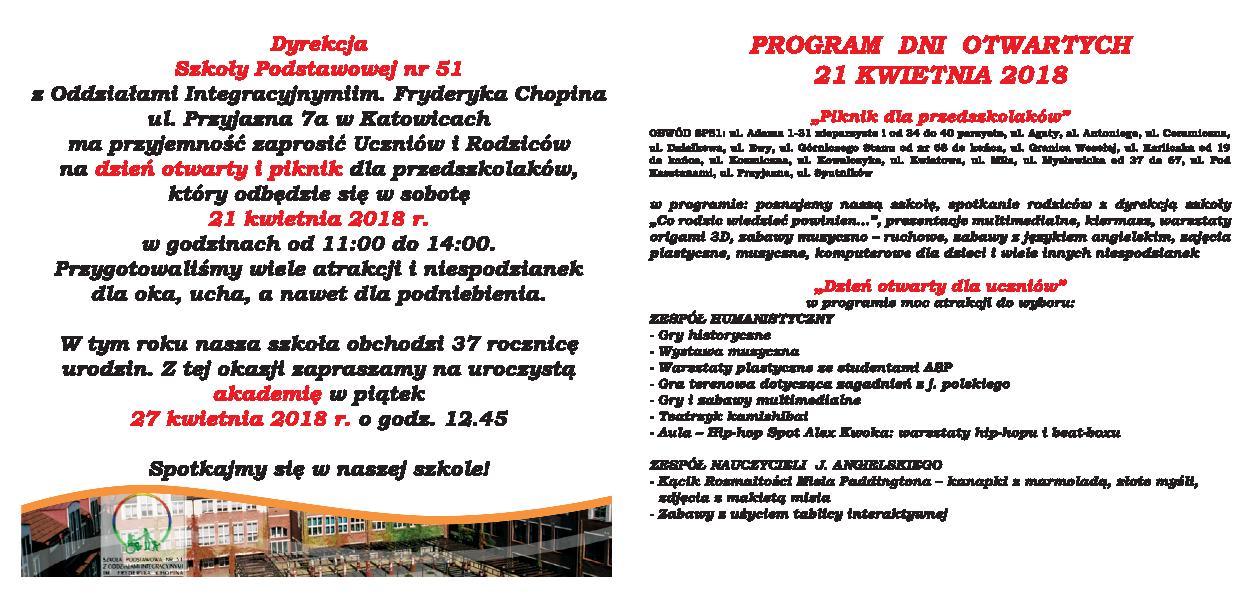 Szkoła Podstawowa Nr 51 W Katowicach Zaproszenie Na Dni Otwarte Sp 51